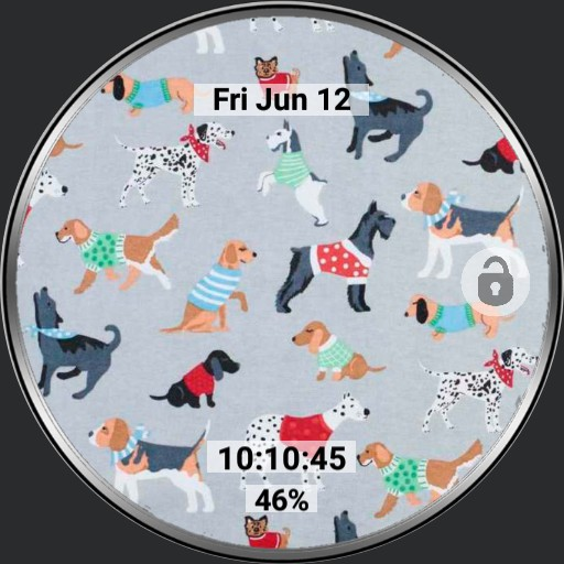 Dog themed watch multi-screen with 6 app launcher for Samsung Galaxy Watch