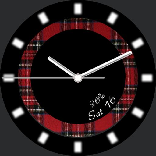 Red Tartan Ring with date and battery power info