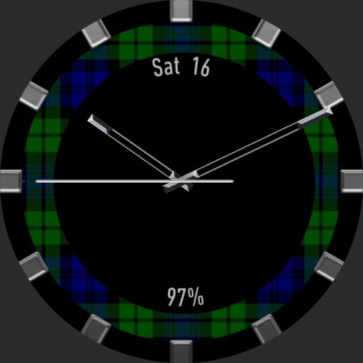 Blue and Green Tartan Ring with date and battery power info