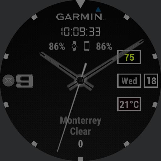 Garmin full info  black, gray, green