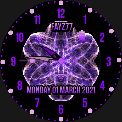 Purple and pale pink watch face.
