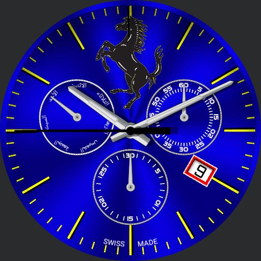 ferrari blue clock watch