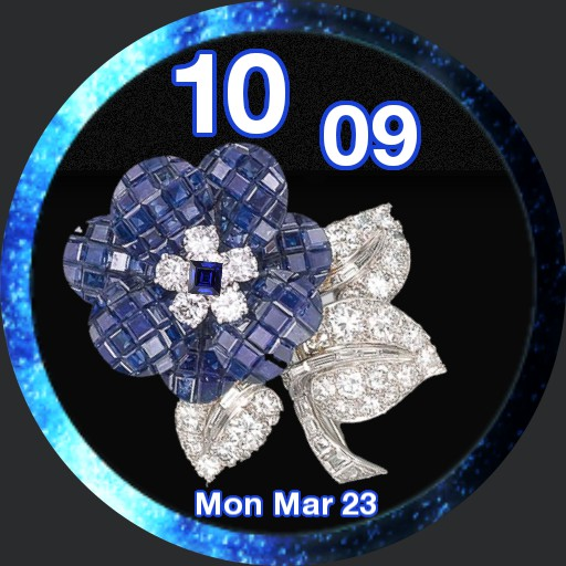 blue flower in diamonds