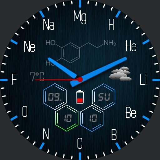 Chemical elements blue with stopwatch 2
