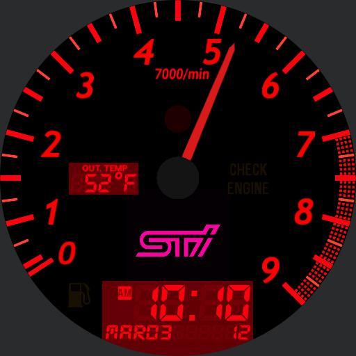 2007 STi Tachometer face