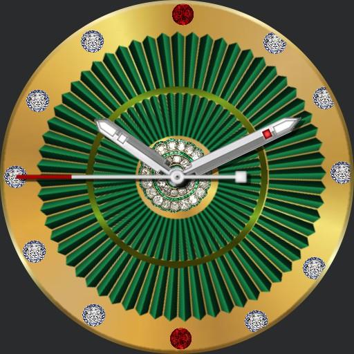 gold  green diamond  spinning disc