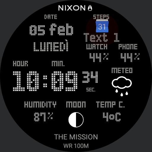 Nixon calendar steps heart rate weather and moon custom Black Snow