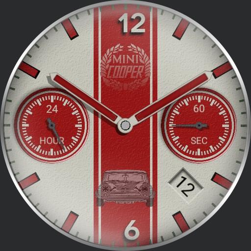 Mini cooper red timepiece