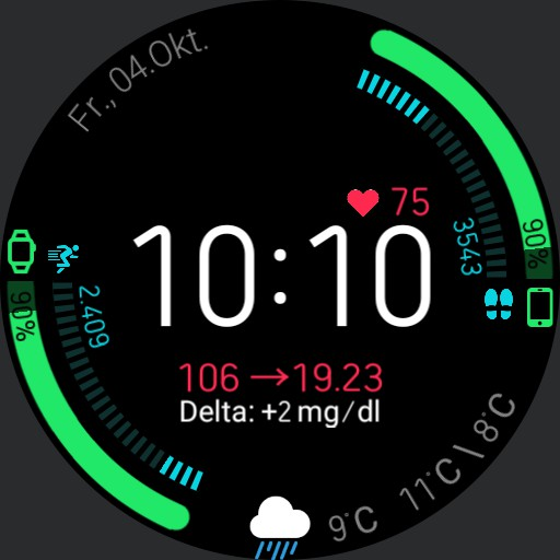 mmol/l V.2.1/EN Blood Glucose Health Dashboard with xDrip Integration without WorkOut Button