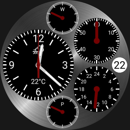 Five dial watch with weather and power levels