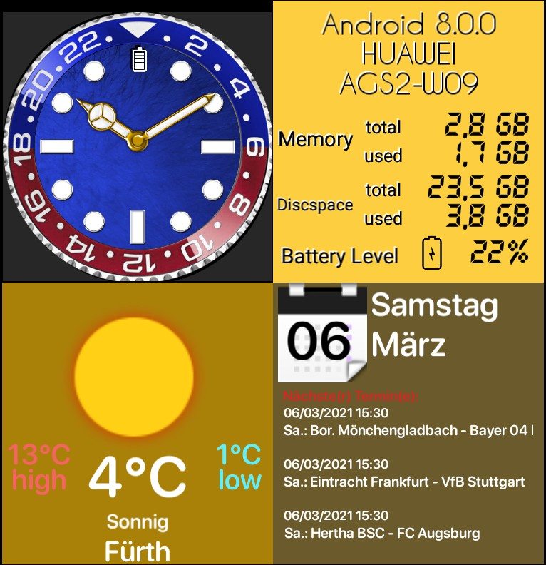 Luxury Watch with Weather- and Systeminfo