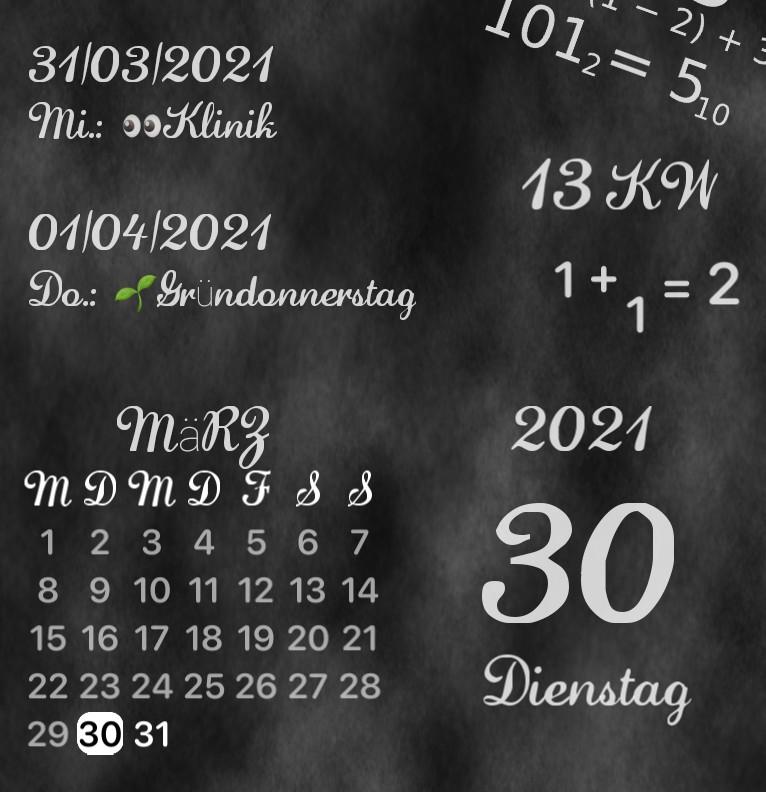 Kalender Kreidetafel