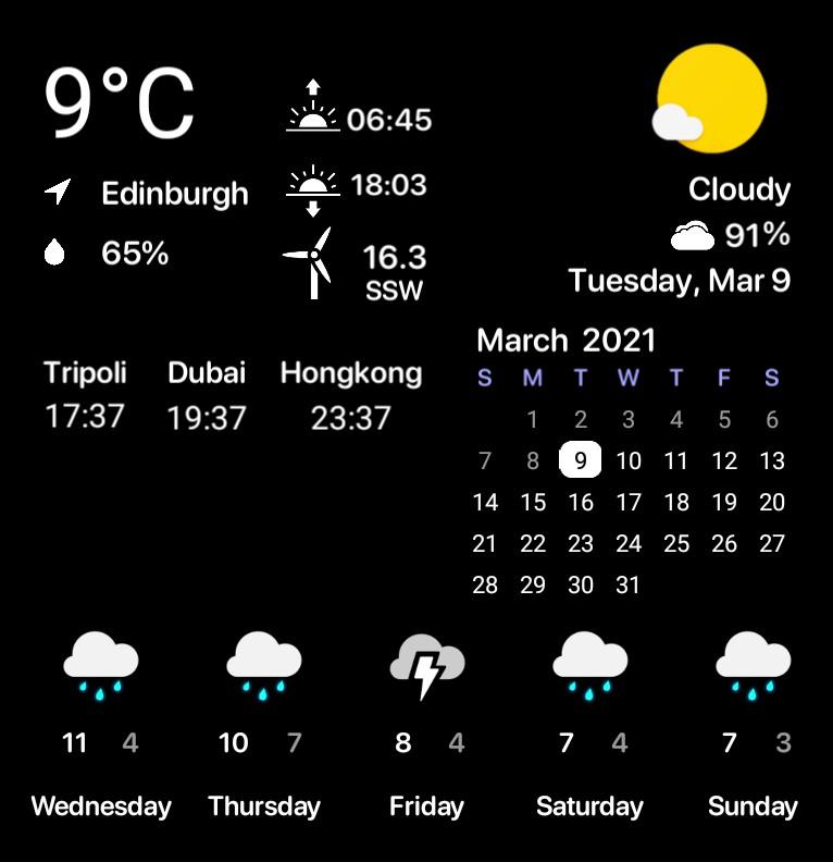 Weather - Calendar - Time Zone  Dark