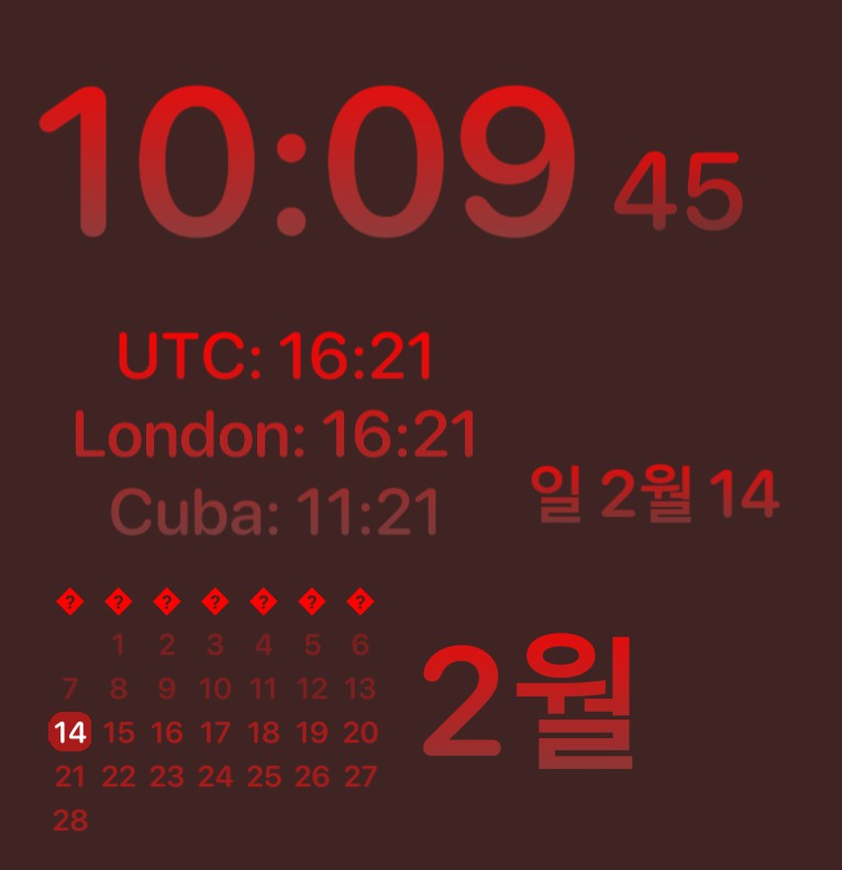 Clock and seconds with World Time Zones and calendar