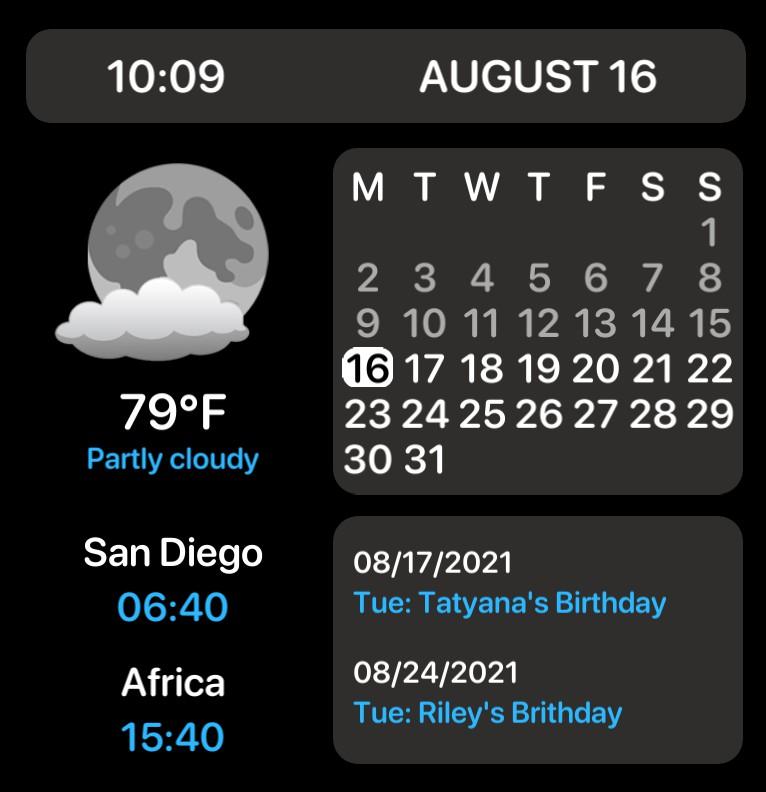 3 Time Zones + Calendar