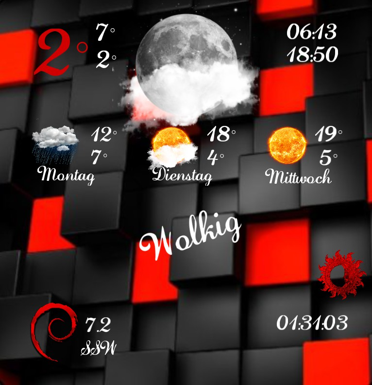 Widget Wetter Red Black
