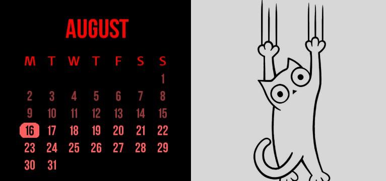 cat doodle calendar