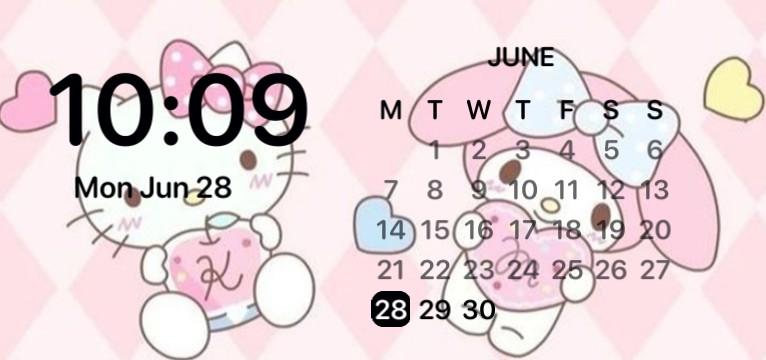 hello kitty widget clock aesthetic