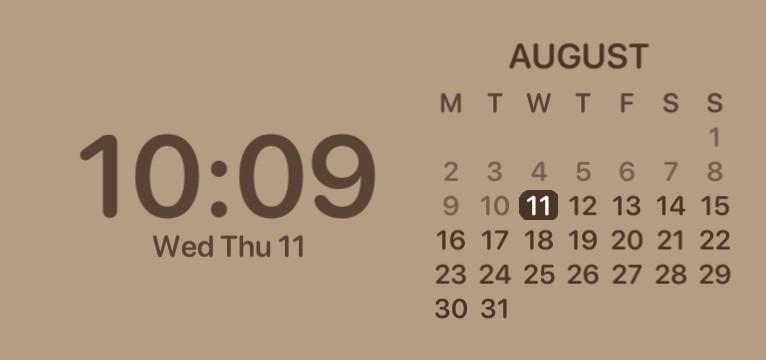 Brown aesthetic time widget
