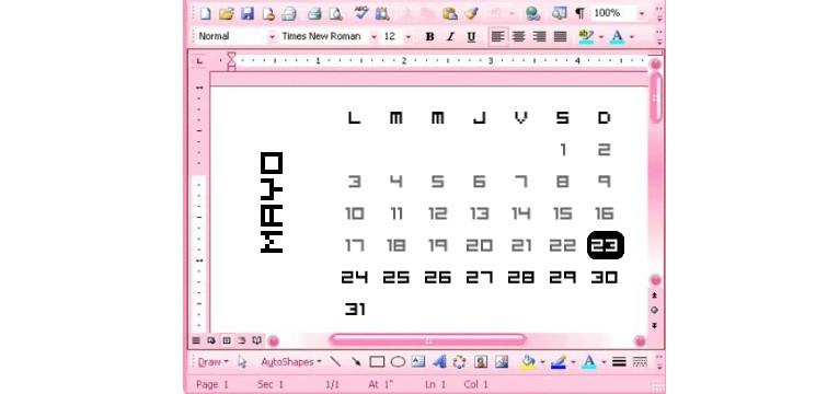 Calendar pink retro