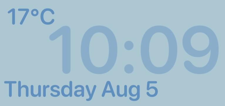 Blue Time/Date/Weather widget