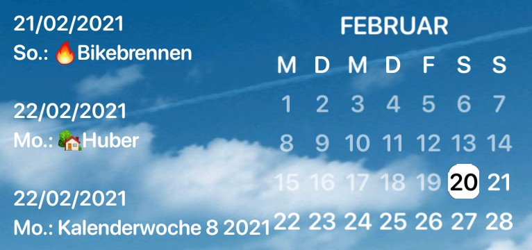 Widget Kalender Wolke
