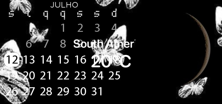DARK IOS 13  Widget calendary Dark.
