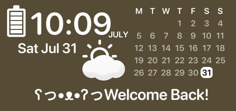 Brown Minimalistic Aesthetic Time Weather Calenders Widget
