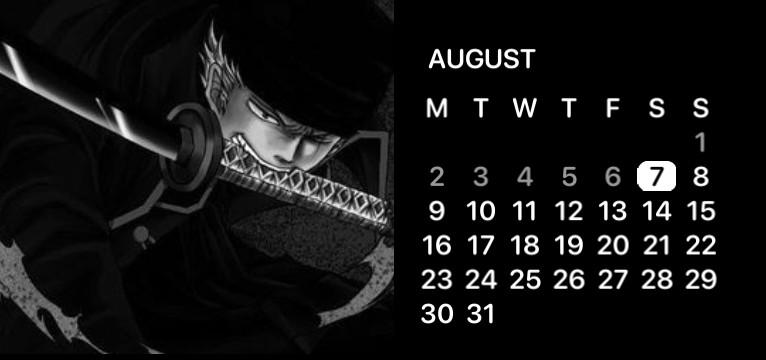 roronoa zoro calendar