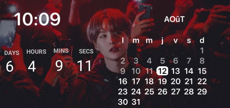 suga red calendar widget