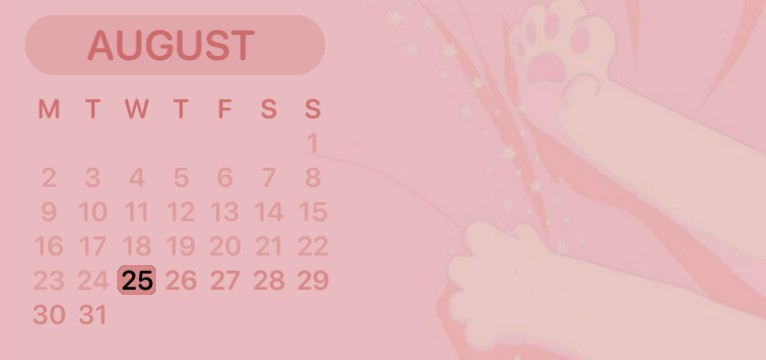 Pink cat paw calender