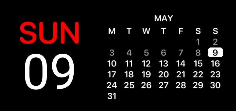 Black Red Date Calendar