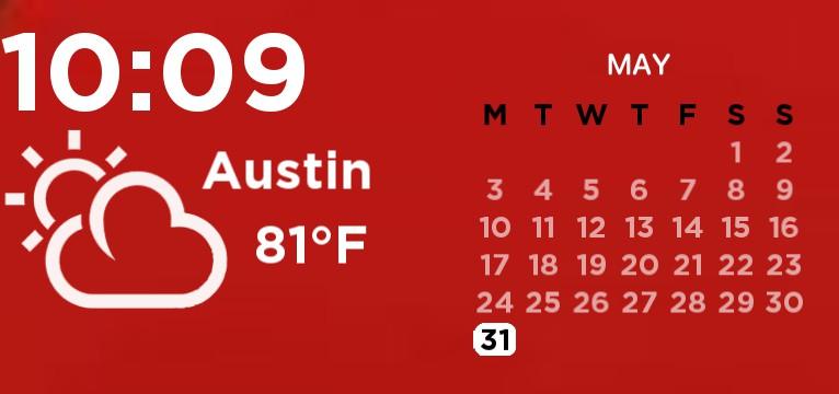 RED time/calendar/weather widget