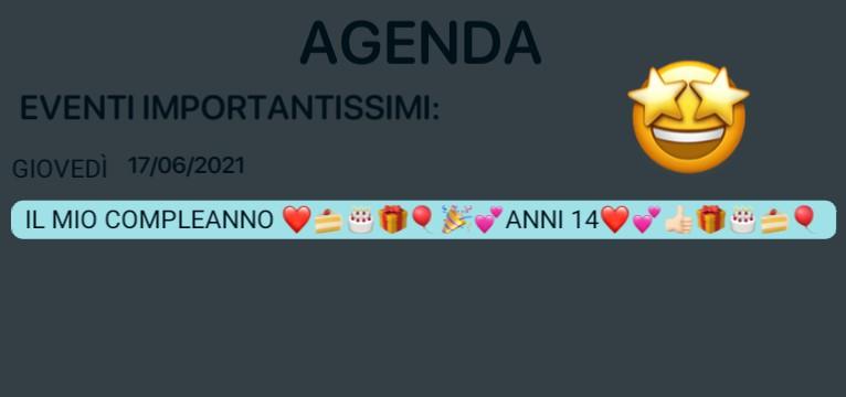 birthday agenda