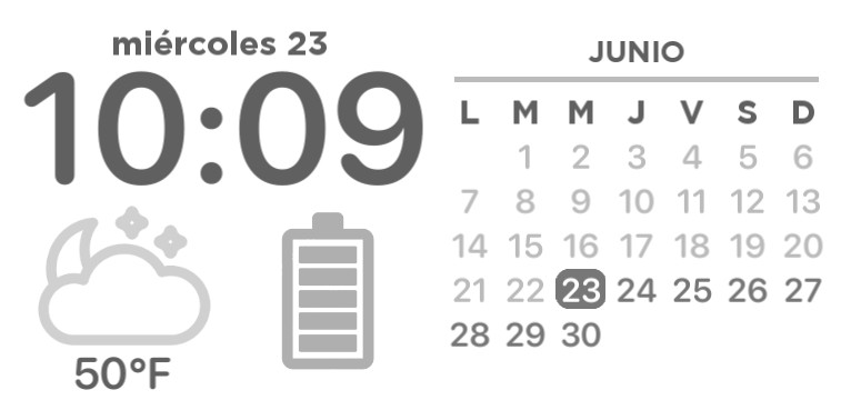 Time, Battery, Calendar and Hour Widget