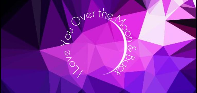 I Love You to the Moon & Back  Purple Geometric Background