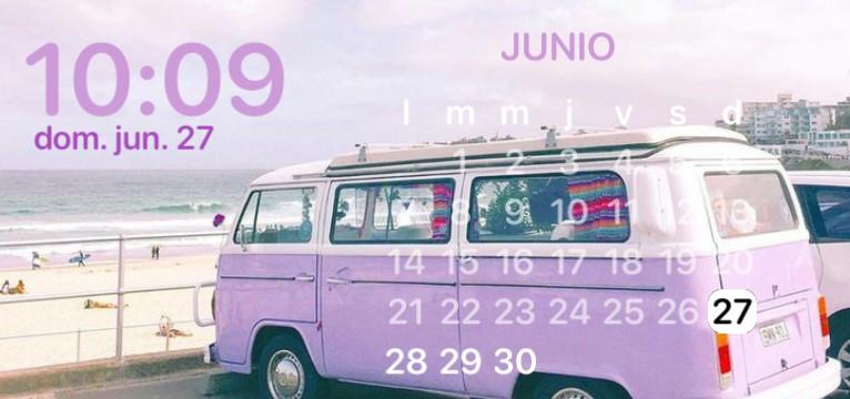 calendar purple beach