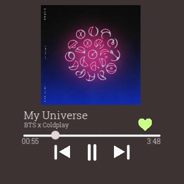 Spotify BTS x Coldplay My Universe widget
